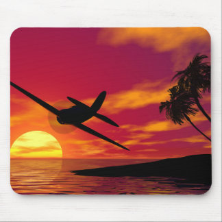 Airplane in a Tropical Sunset Mouse Pad