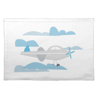 Airplane In Clouds Cloth Placemat