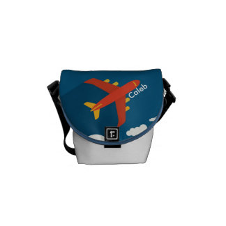 Airplane in the Blue Sky Kid Pilot Personalized Messenger Bag