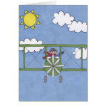 Airplane in the clouds greeting card