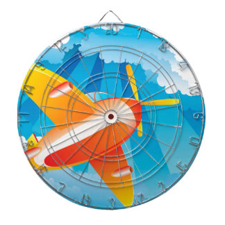 Airplane in the Sky Dartboard With Darts