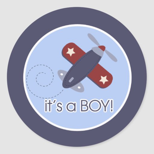 Airplane It's a BOY Envelope Seals