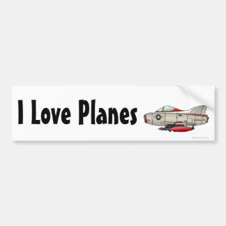 """Airplane Jet Fighter Military Aircraft, I Love… B Bumper Sticker"
