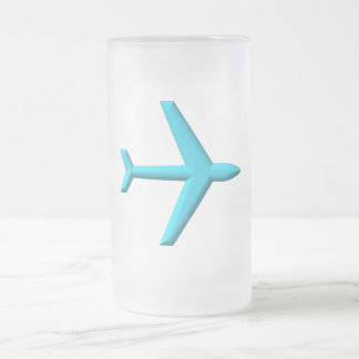 Airplane/Jet 16 Oz Frosted Glass Beer Mug