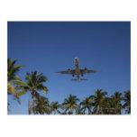 Airplane landing in Miami Postcard