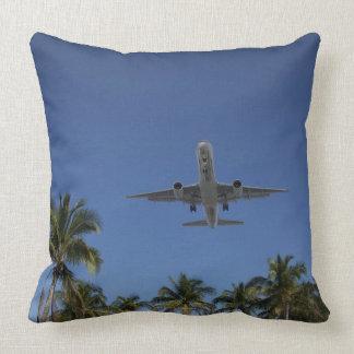 Airplane landing in Miami Throw Pillow