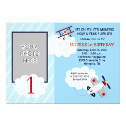 Airplane Little Aviator Red/Blue Photo Birthday Card