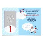 Airplane Little Aviator Red/Blue Photo Birthday 5x7 Paper Invitation Card