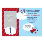 Airplane Little Aviator Red & Navy Photo Birthday 5x7 Paper Invitation Card