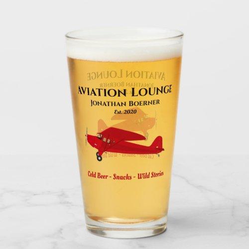 Airplane Lounge Pub Tavern Man Cave Beer Drinking Glass