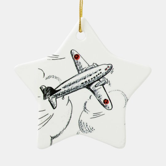Airplane | Old Fashioned Drawing Aviation Ceramic Ornament