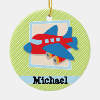 Airplane on Lime Green & White Stripes Ceramic Ornament