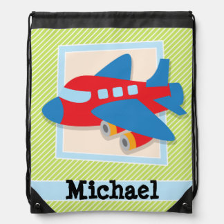 Airplane on Lime Green & White Stripes Backpacks