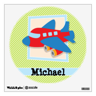 Airplane on Lime Green & White Stripes Room Sticker