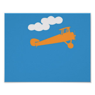 Airplane on plain blue background poster