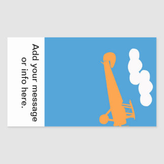 Airplane on plain blue background. rectangular sticker