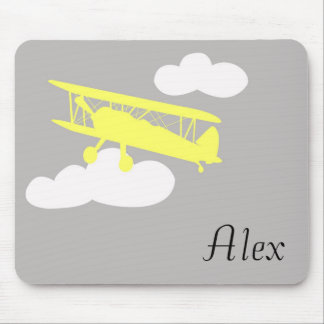 Airplane on plain grey background. mouse pad