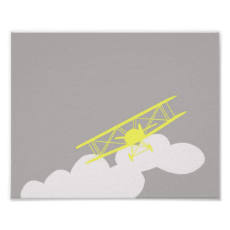 Airplane on plain grey background. poster