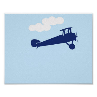 Airplane on plain pastel blue background. poster