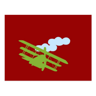Airplane on plain red background. postcard