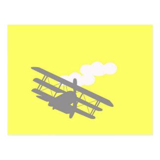 Airplane on plain yellow background. postcard