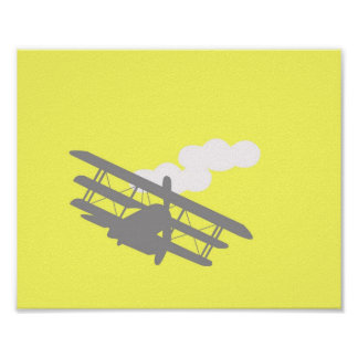 Airplane on plain yellow background. posters