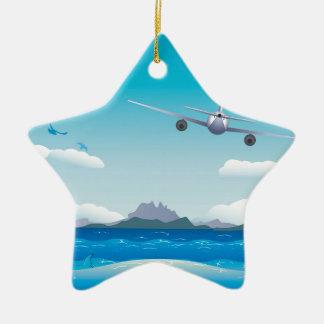Airplane over Sea Ceramic Ornament
