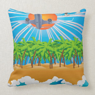 Airplane over Tropic Island Pillow