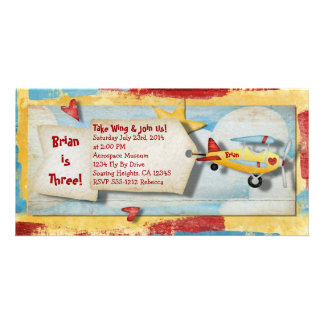 Airplane Party Invitation Photo Card Template