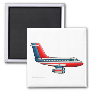 Airplane Passenger Jet Plane 2 Inch Square Magnet