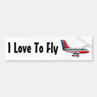 """""""Airplane Passenger Jet Plane, I Love To Fly… Bump Bumper Stickers"""