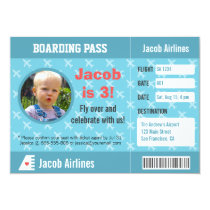 Airplane Pattern Boarding Pass Birthday Party Invitation