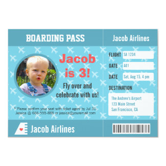 Airplane Pattern Boarding Pass Birthday Party 4.5x6.25 Paper Invitation Card