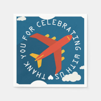 Airplane Personalized Boy Pilot's Party Shower Napkin