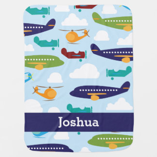 Airplane Personalized Boy s Baby Blanket