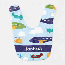 Airplane Personalized Boy's Baby Bib