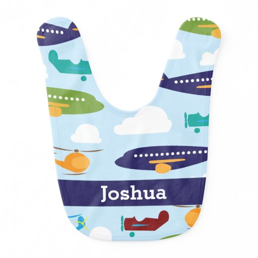 Airplane Personalized Boy's Baby Bib