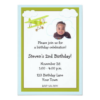 Airplane Photo Birthday Invitation