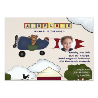 Airplane Photo Birthday Party Invitation