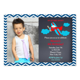 Airplane Photo Birthday Party Invitations