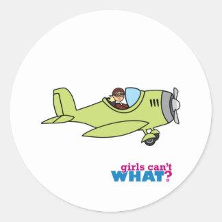 Airplane Pilot Classic Round Sticker