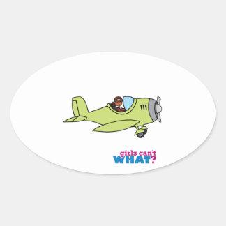 Airplane Pilot - Dark Oval Sticker