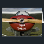 """Airplane Pilot Happy Birthday Card<br><div class=""""desc"""">Send b-day wishes to your favorite pilot or aviation student with the custom Airplane Pilot Happy Birthday Card. Feel free to change the inside text or add your own personal b day message, if desired. This aviator birthday card features a photograph of a tail dragger airplane with a red cowling,...</div>"""