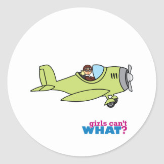Airplane Pilot - Light/Blonde Classic Round Sticker