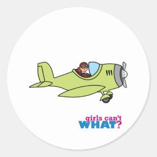 Airplane Pilot - Light/Red Classic Round Sticker