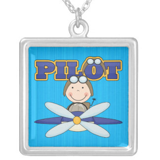 Airplane Pilot Silver Plated Necklace