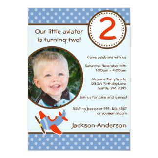 Airplane Polka Dot Blue Red Photo Boy Birthday 5x7 Paper Invitation Card