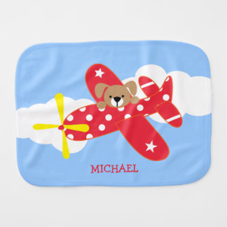 Airplane Puppy Dog Personalized Baby Burp Cloth