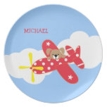Airplane Puppy Dog Personalized Party Plate