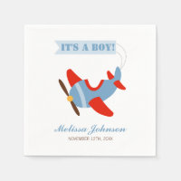 Airplane Red Blue Boy Baby Shower Paper Napkin